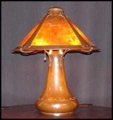 Dirk Van Erp hammered copper and mica table lamp.  Vented cap.  Signed.
